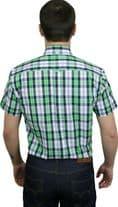 Relco Mens Green White Check Short Sleeve Button Down Shirt Spring '21 Range